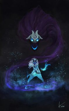 Kindred League of Legends, Mireia Garcia - Minecraft, Pubg, Lol and Lol League Of Legends, League Of Legends Kindred, League Of Legends Characters, Legend Of Legends, Lambs And Wolves, Arte Obscura, Monster, Mythical Creatures, Fantasy Characters