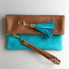 Turquoise and cognac leather fold over clutch