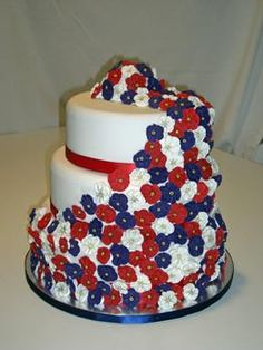 Red White Blue Wedding cake this is a cool cake.