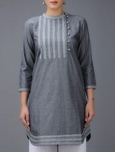 Grey Embroidered Mandarin Collar Cotton Kurta