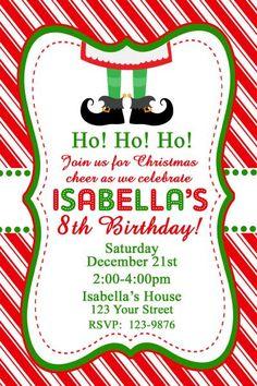 Christmas Birthday Party Invitations with envelopes Santa Holly