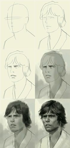 How to draw Luke Skywalker Digital Painting Tutorials, Digital Art Tutorial, Art Tutorials, Process Art, Painting Process, Shetland, Star Wars Drawings, Sketch Painting, Beautiful Drawings