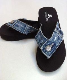 The Kate Size 6 Reclaimed Blue Jean Denim Flip Flop Thong Sandal Flip Flops Diy, Flip Flop Craft, Diy Jeans, Shoe Refashion, Denim Crafts, Jean Crafts, Denim Ideas, Shoe Pattern, Recycled Denim