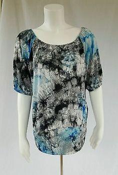 Dressbarn Womens Medium Blue Tie-dye Shirt Top Blouse Scoop Neck 3/4 Sleeve