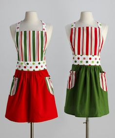 Take a look at this Holiday Peppermint Apron Set - Adult by Domestic Goddess: Aprons & Dishtowels on #zulily today!