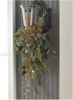 Christmas Sparkling Taupe Poinsettia Door Swag...such an elegant look for the holidays.