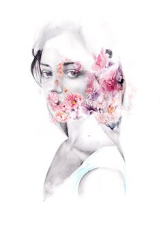 Girl with flowers double exposure. Fog. by naranjalidad on Etsy, €15.00
