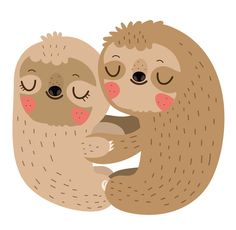 Sloth love Sticker - Design By Humans Baby Sloth, Cute Sloth, Jungle Animals, Cute Animals, Illustration, Love Stickers, Cute Characters, Spirit Animal, Sticker Design