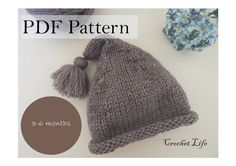 Baby stocking hat, PDF Pattern, Knitting pattern, Knit baby hat, Newborn Photo prop, Knitting, Knit your own, Hat- baby Accessory USD 2.49