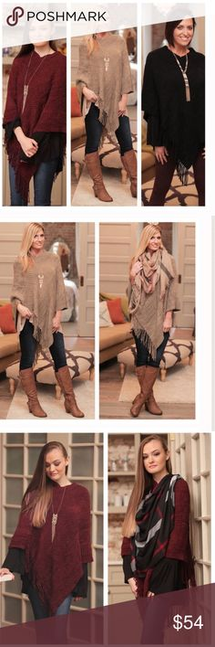 Crochet Fringe Poncho-Coming 10/28!! Stylish, warm, gorgeousss Crochet Fringe Poncho! Only 3 available, one size fits most! Price is firm unless bundled, please choose your color preference at checkout!! Want the look above? Bundle with the plaid scarf for a chic layered style👠💄💋 Bellamisu Boutique Sweaters Shrugs & Ponchos