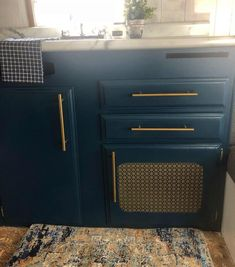 Sherwin-Williams Moscow midnight Blue Kitchen Cabinets, Kitchen Cabinet Colors, Kitchen Reno, Kitchen Remodel, Bathroom Cabinets, Kitchen Ideas, Coastal Paint, Exterior Makeover, Interior And Exterior