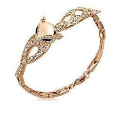 18K White Gold Plated Cute Fox Shape Wedding Engagement Chain Bracelet Swaravski Crystal Pulsera Fashion Jewelry for Women on AliExpress.com. $8.46