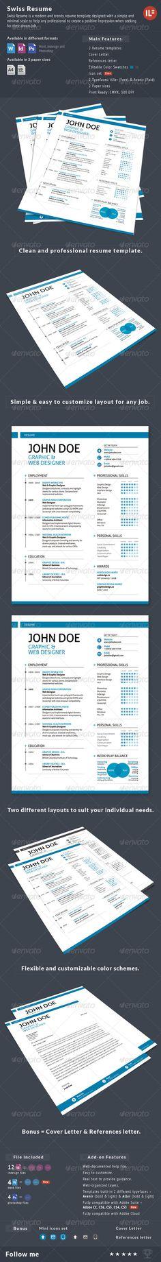 3-Piece Swiss Style Resume set - Resumes Stationery