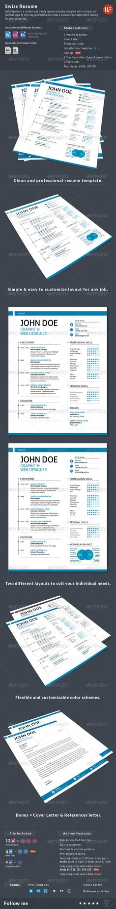 3-Piece Swiss Style Resume set_Purchase : http://graphicriver.net/item/-3piece-swiss-style-resume-set/155832?ref=ThemeTruly