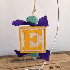 Christmas ornament vintage wooden alphabet block rustic modern elephant country…