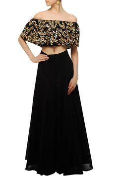 Lehengas, Clothing, Carma, Black gota patti appliqued one shoulder blouse and lehenga