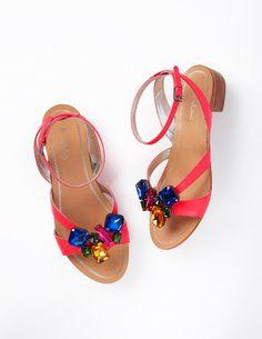 1d03f336db47 Boden Women s Brand New Fab Jewelled Heeled Sandal Bright Lollipop Pink  Leather