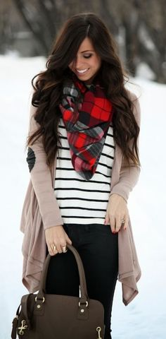 Stripes & Plaid Winter Outfit: Black and White Striped Shirt, Black Jeans, Plaid Scarf, and Neutral Cardigan