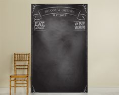 """Personalized """"Eat Drink & Be Married"""" Photo Chalkboard Backdrop by Kate Aspen   DIY: 4x8 sheets of plywood or luan. Paint with chalkboard paint."""