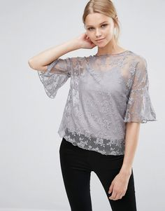 Love & Other Things Lace Overlay Top - Gray