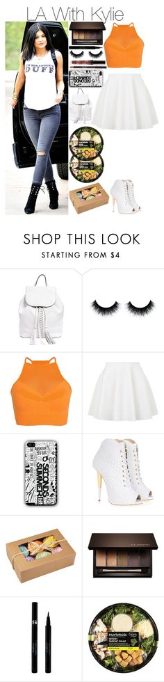 """""""LA With Kylie"""" by runningwithfandoms ❤ liked on Polyvore featuring Rebecca Minkoff, Fox, Topshop, Giuseppe Zanotti, Clarins and Sisley"""