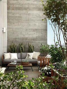 une terrasse design / bois et gris Outdoor Rooms, Outdoor Gardens, Outdoor Furniture Sets, Outdoor Decor, Outdoor Decking, Rustic Furniture, Balcony Furniture, Indoor Garden, Antique Furniture