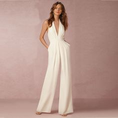 Long white Rompers Womens Jumpsuit spring summer Party hang neck off  shoulder backless Club Pants Deep V jumsuit 0cbd9cd74e99