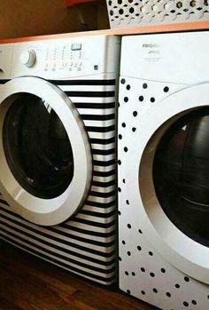 Waschmaschine verschönern mit steifen und punkte :-) ähnliche tolle Projekte und Ideen wie im Bild vorgestellt findest du auch in unserem Magazin . Wir freuen uns auf deinen Besuch. Liebe Grüße