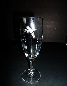 Etched Hummingbird Stemware