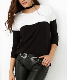 Love this Black & White Color Block Crewneck Top on #zulily! #zulilyfinds