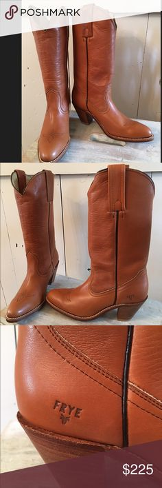 Frye Women's Leather western Boots 7    1/2 Brand Spanking New! Retail over $300  and as you can see never been worn. My loss your gain! Genuine Leather 7  1/2 AA Narrow Absolutely perfect! These are well made Boots and The picture really doesn't do them justice. I need a 8 or these beauties would be staying in my personal Closet 😊 Make a REASONABLE Offer Frye Shoes