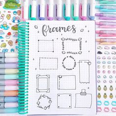 New doodle ideas for your bullet journal/study notes💕also this was the last page of my dotted notebook and it makes me… Bullet Journal Headers, Bullet Journal Writing, Bullet Journal Aesthetic, Bullet Journal School, Bullet Journal Ideas Pages, Bullet Journal Inspiration, Bullet Journal Frames, Journal Fonts, Study Notes