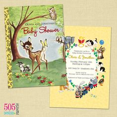 Printable Baby Shower Invitation – Golden Books Bambi Invitation, could put bit about books instead of cards at the bottom....