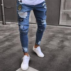 Stretchy Ripped Hiphop Jeans for Men Cartoon Patch Skinny Hole Embroidered Jeans Slim Fit Denim Pants Men's Trousers Men Trousers, Denim Pants, Men's Jeans, Men's Denim, Biker Jeans, Camo Pants, Raw Denim, Male Jeans, Plaid Jeans
