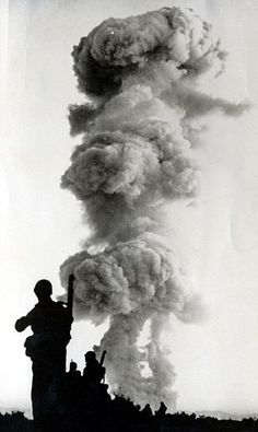 Troops of the United States Sixth Army after an atomic blast at Yucca Flat in Nevada on June 1st 1952.