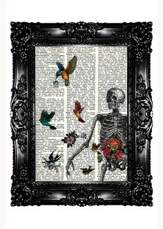 Skeleton and Flower & Birds 1 Dictionary Art Print Upcycled Book Upcycled Dictionary Page Vintage Book Print  Buy 3 get 4th free. $7.99, via Etsy.