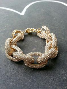 Pave Link Bracelet  J Crew Pave Bracelet  Gold by MelangeShopLove, $24.99