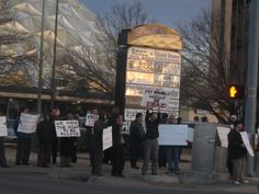 Libya Protest, Feb. 22, 2011. About 100 people gathered to protest outside at the corner of NW 23rd and Classen. (Photo: Eli Bell)