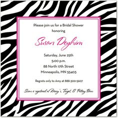 Sweet Sixteen Invitations, Wild Zebra Border Square, 9609