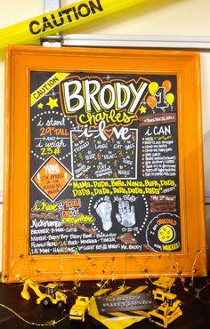 .: First Birthday Chalkboard by L.A. Sign Design :.  Caution, First, 1st, Birthday, Chalkboard, Construction, Tonka, Truck, Little Boy, L.A. Sign Design  ***Blue-Ribbon Award Winner ***         @ NWSF [July '16]