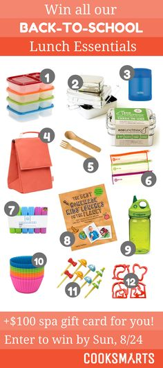 Back to School Lunch Essentials Giveaway from @cooksmarts ENDS 8/24
