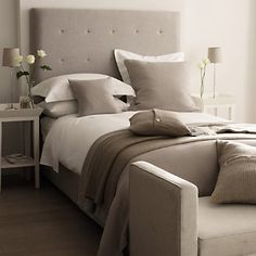 LOVE! Chelsea bed at the White Company - my house shall be a vision of whites, greys and beige!
