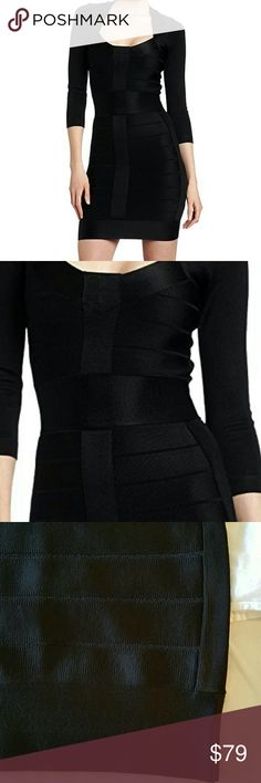 French Connection Black Ribbon Knits Dress French Connection Black Ribbon Knits 3/4 sleeve Size 2 dress. Beautiful and sleek slimming bandage style ribbed dress. Perfect in length and texture. Form fitting helps to accentuate your curves. Low flirty neckline and high back. NWT French Connection Dresses Midi