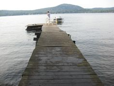 Looking down the old dock at Fourth Lake, Adirindacks...