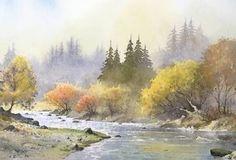 watercolor mountains warm colors ile ilgili görsel sonucu