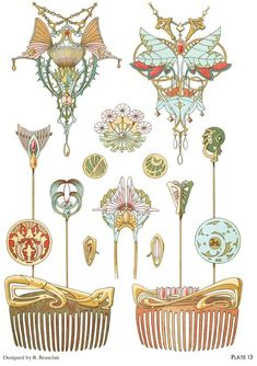 Art nouveau jewelry designs by: rene beauclair - welcome to dover publications - excerpt 4 Motifs Art Nouveau, Design Art Nouveau, Bijoux Art Nouveau, Art Nouveau Jewelry, Jewelry Art, Antique Jewelry, Art And Illustration, Illustrations, Arte Art Deco