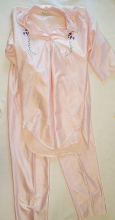 Womens Vintage 2 Piece Pajamas Set - Pink Shiny - Floral Design - SAMANTHA BETH - New York - Size Small - Night Wear - Intimates - Sleepwear by DOINGITSOBER on Etsy
