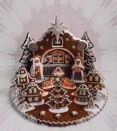 We have all seen how elaborate and creative gingerbread houses can get, but have you ever seen a gingerbread nativity scene? Check out the creative and elaborate twist on a classic holiday treat. Christmas Cookies Kids, Christmas Gingerbread House, Christmas Nativity, A Christmas Story, Gingerbread Cookies, Christmas Crafts, Gingerbread Houses, Christmas Trivia, Fancy Cookies