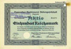 HWPH AG - Historische Wertpapiere - Bayreuther Bierbrauerei AG Bayreuth, März 1938, Aktie über 100 RM, später auf 200 RM umgestempelt, #4975