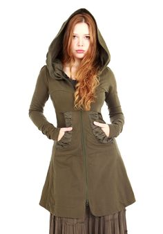 Olive green women hoodie, long classy gorgeous silhouette with a generous hood all sizes. $148.00, via Etsy.